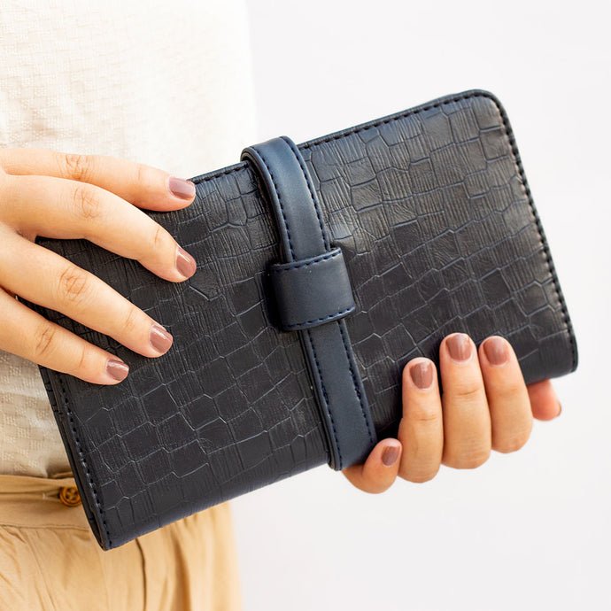 Everyday Navy Faux Croc Clutch Wallet - Broke Mate