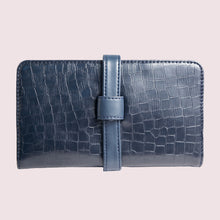 Load image into Gallery viewer, Everyday Navy Faux Croc Clutch Wallet - Broke Mate