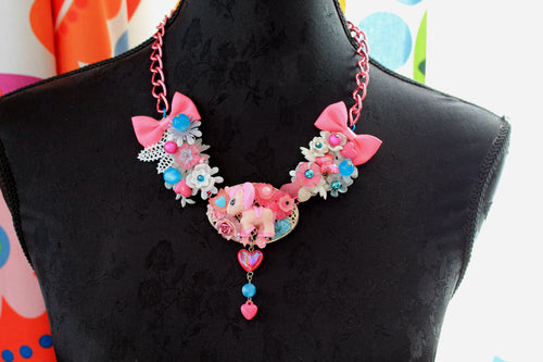 Kawaii Poney necklace with Bow in Pink, Lolita, fairy kei,decoden, OOAK,Pony, Horse jewelry