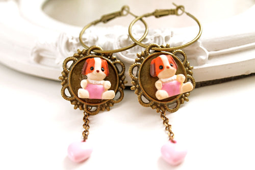 Cute puppy hoops,  kawaii earrings, harajuku lolita, dangles, cute dog jewelry