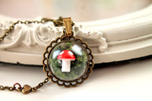 Load image into Gallery viewer, Dainty woodland mushroom in moss necklace, cute, kawaii, lolita, red green, forest, fairy,fairytale