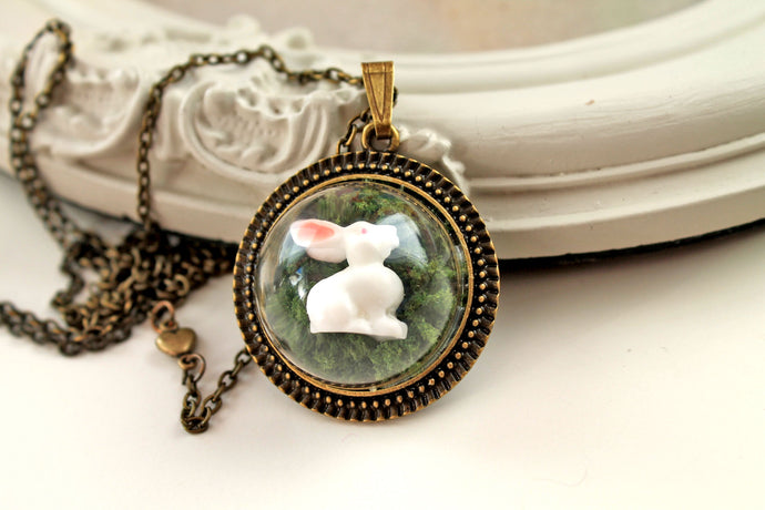 Necklace dainty cute woodland white bunny rabbit in moss,  kawaii lolita, alice in wonderland, fairytale