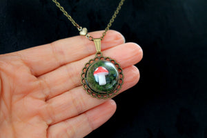 Dainty woodland mushroom in moss necklace, cute, kawaii, lolita, red green, forest, fairy,fairytale
