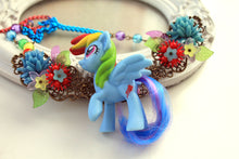 Load image into Gallery viewer, Kawaii Poney,Pony, Horse, Necklace with Bow,  Lolita, fairy kei, decoden, rainbow, OOAK