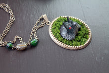 Load image into Gallery viewer, Dino in moss necklace, dinosaur, triceratops, kitsch, harajuku, jewelry