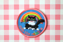 Load image into Gallery viewer, Kawaii fluffy cat and rainbow embroidered patch, iron or sew on back