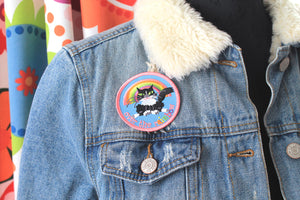 Kawaii fluffy cat and rainbow embroidered patch, iron or sew on back