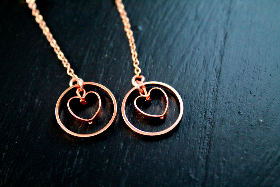 Long rose gold earrings, heart, geometric, dangles, dainty