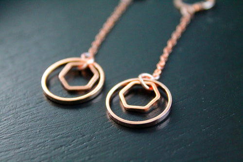 Long rose gold earrings, hexagon, geometric, dangles, dainty