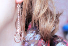 Load image into Gallery viewer, Long rose gold earrings, hexagon, geometric, dangles, dainty