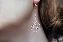 Load image into Gallery viewer, Long rose gold earrings, heart, geometric, dangles, dainty