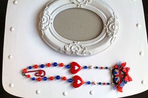 Necklace with and UK  flag, United Kingdom, British, lolita, red blue white, flowers