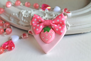 Pink Strawberry  on a heart necklace, KAWAII,fairy  kei  Gothic Lolita