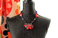 Load image into Gallery viewer, Necklace with and UK  flag, United Kingdom, British, lolita, red blue white, flowers