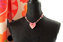 Load image into Gallery viewer, Pink Strawberry  on a heart necklace, KAWAII,fairy  kei  Gothic Lolita