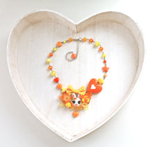 Load image into Gallery viewer, Kawaii Bunny choker necklace with bow orange yellow flower, fairy kei lolita fashion, cute rabbit