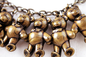 Necklace 9 Little bears, kawai,i original choker, cute, harajuku, brass colored animal