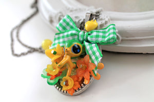 Bambi fawn deer Necklace, KAWAII lolita, green bow yellow flowers, egl fairy kei style