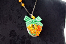 Load image into Gallery viewer, Bambi fawn deer Necklace, KAWAII lolita, green bow yellow flowers, egl fairy kei style