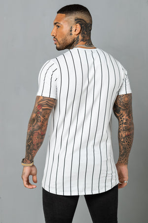 Pin Stripe Tee - White & Black