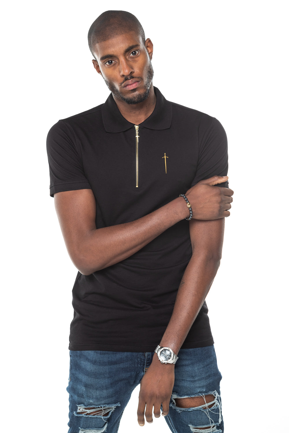 Envy Polo Shirt - Black & Gold