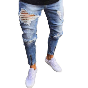 2018 New Trend Jeans Fashion Men''s Jeans Trousers Hole Pants