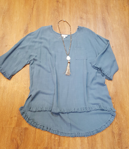 Linen Blend Bell Slv Top w/Chst Pkt Plus Size