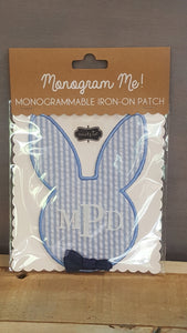 Monogram Iron-On Patch Blue Bunny