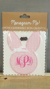 Monogram Iron-On Patch Pink Bunny