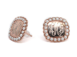Engraved Sterling Silver Pearl Stud Earrings