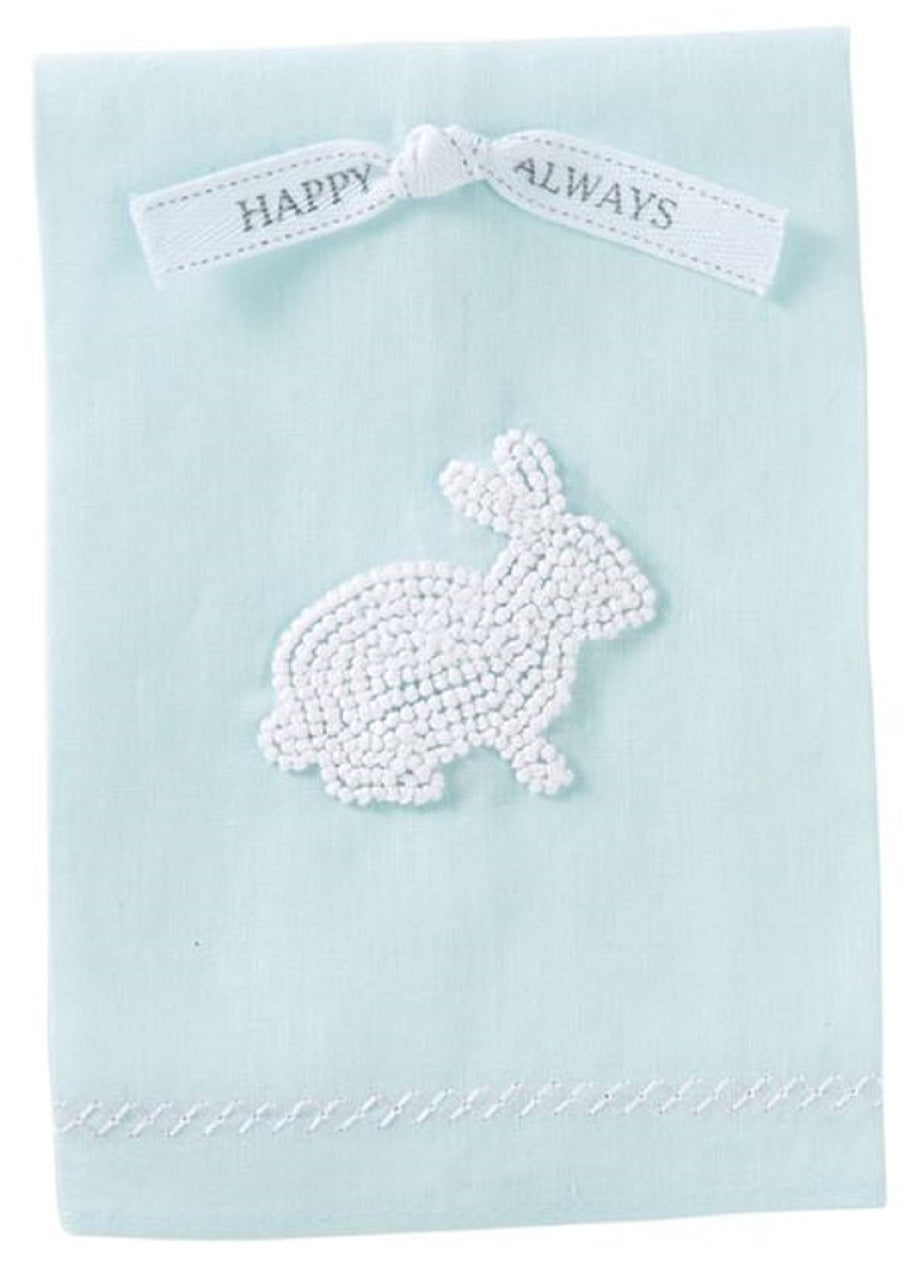 Bunny French Knot Towel Blue