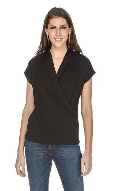 Wrap Jersey Top Black