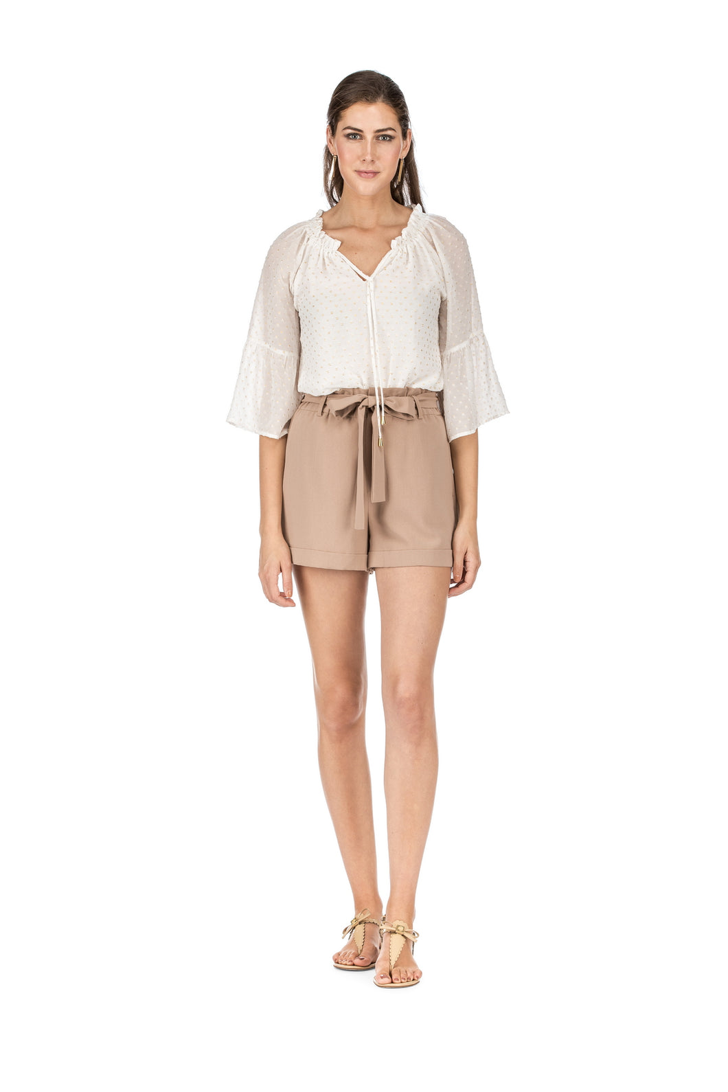 Pleated Shorts Sand