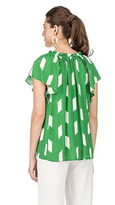 Ruffle Flutter Top Green Pattern