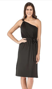 One Shoulder Jersey Dress Black