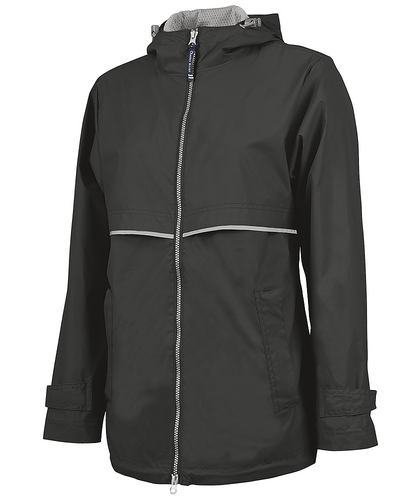 Monogrammed Full Zip Rain Jacket Black