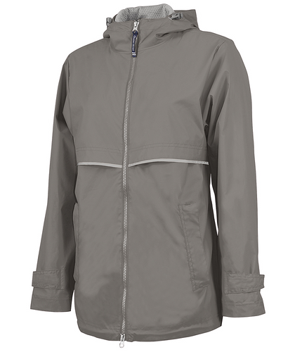 Monogrammed Full Zip Rain Jacket Grey