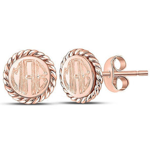 Engraved Sterling Silver Rope Stud Earrings