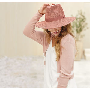 Vince Striped Cardigan Rose