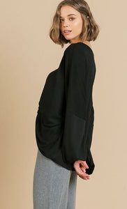 Puff Sleeve V-Neck Center Knot Top BLACK