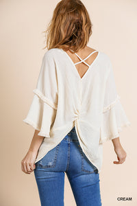Ruffle Bell Sleeve w/Frayed Detail