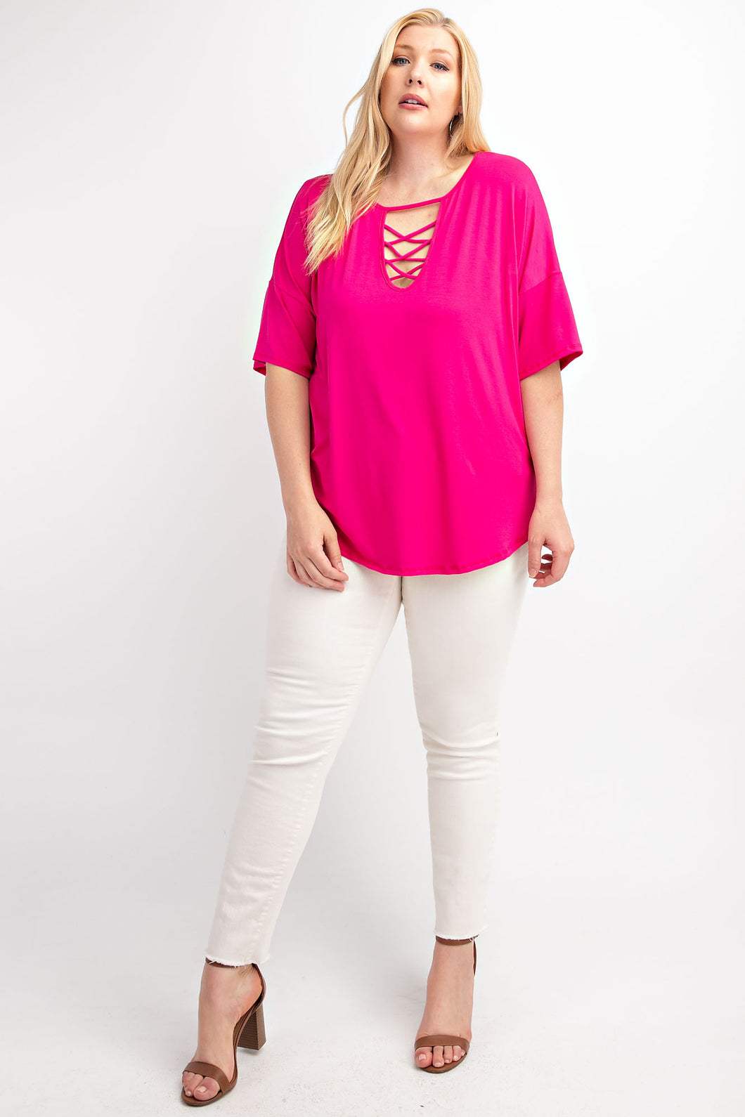 Modal Criss-Cross Detail Fuchsia
