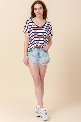 Knit V-neck Crop Top Striped  Navy/Red
