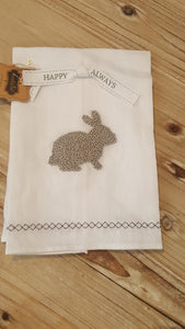 Bunny French Knot Towel White