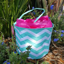 Load image into Gallery viewer, Monogrammed Mint Chevron Easter Basket