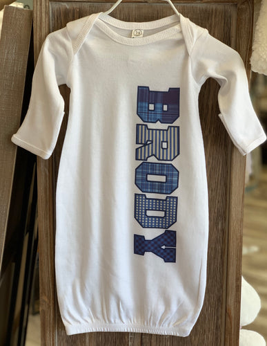 Newborn Personalized Boy Baby Gown