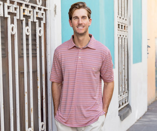 Men's Oakwood Performance Polo Peach&Purple