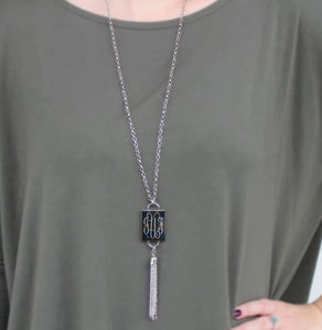 Engraved Fashion Rectangle Tassel Necklace