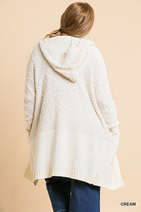 Fuzzy Hooded Cardigan Sweater Plus Size