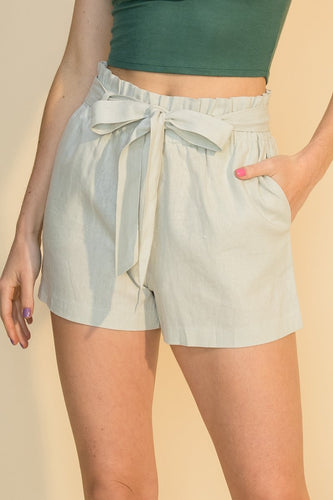 Belted Linen Blend High Waist Shorts